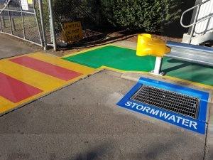 pedestrian bars, solid walkways & storm drains, linemarking safety at its best.